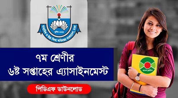 DSHE Class 6 School Assignment 2021 PDF 6th Week   www.dshe.gov.bd