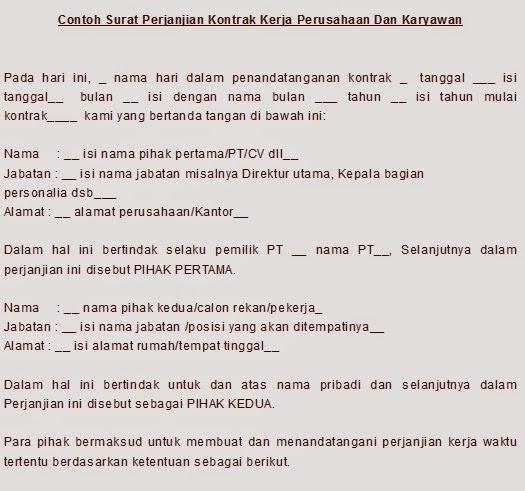 Contoh Surat Perjanjian Kontrak Kerja Perusahaan Dan