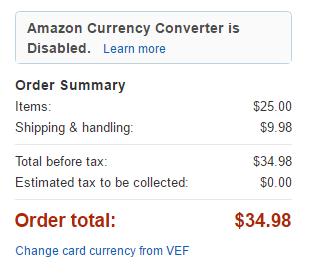 Ejemplo de cuanto cuesta el envío de un libro por Amazon a Venezuela
