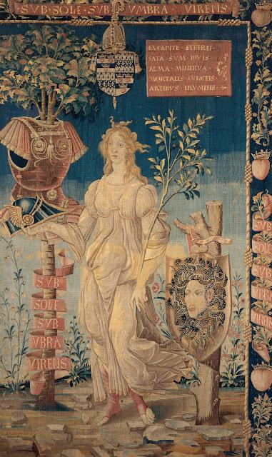 Manufacture française, d'après Botticelli (vers 1445-1510), Minerve pacifique, vers 1491-1500, Laine et soie, 257 x 156 cm, Collection particulière © Studio Sébert, Paris