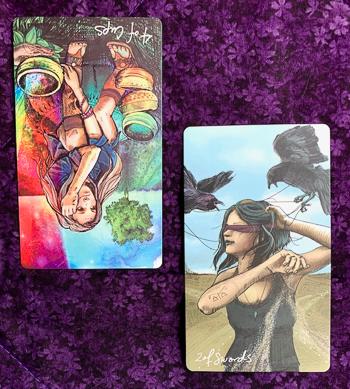 4-of-Cups-reversed-2-of-Swords-Mother-Tarot-Light-Seers-Tarot
