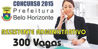 Concurso Prefeitura de Belo Horizonte Assistente Administrativo