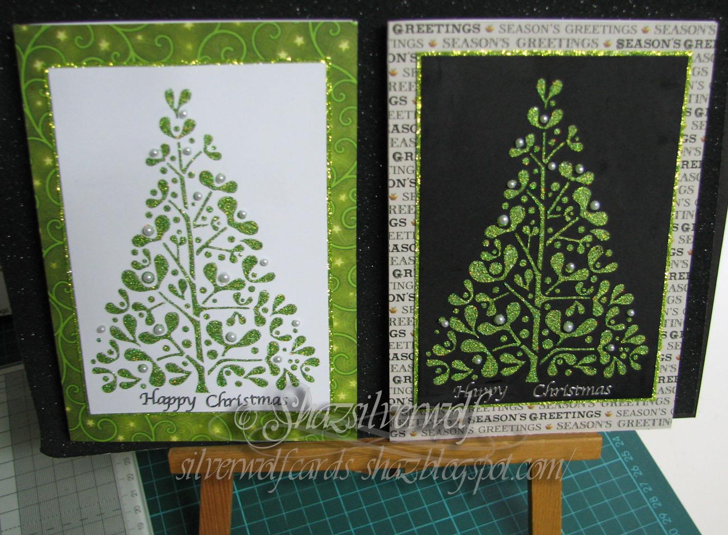 SILVER CHRISTMAS TREES PEEL OFF STICKERS FOR CARDS OR CRAFTS