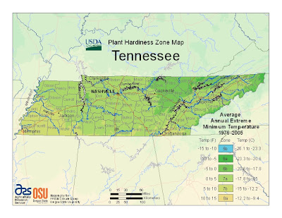 plant hardiness zone map Tennessee MyWAHMPlan.com