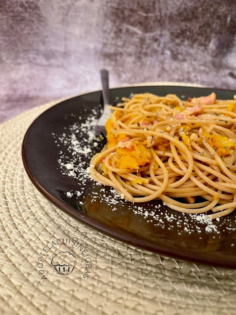 Spaghettis butternut et lardons - Recette facile - IG bas