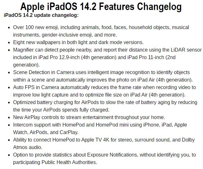Apple iPadOS 14.2 Features Changelog