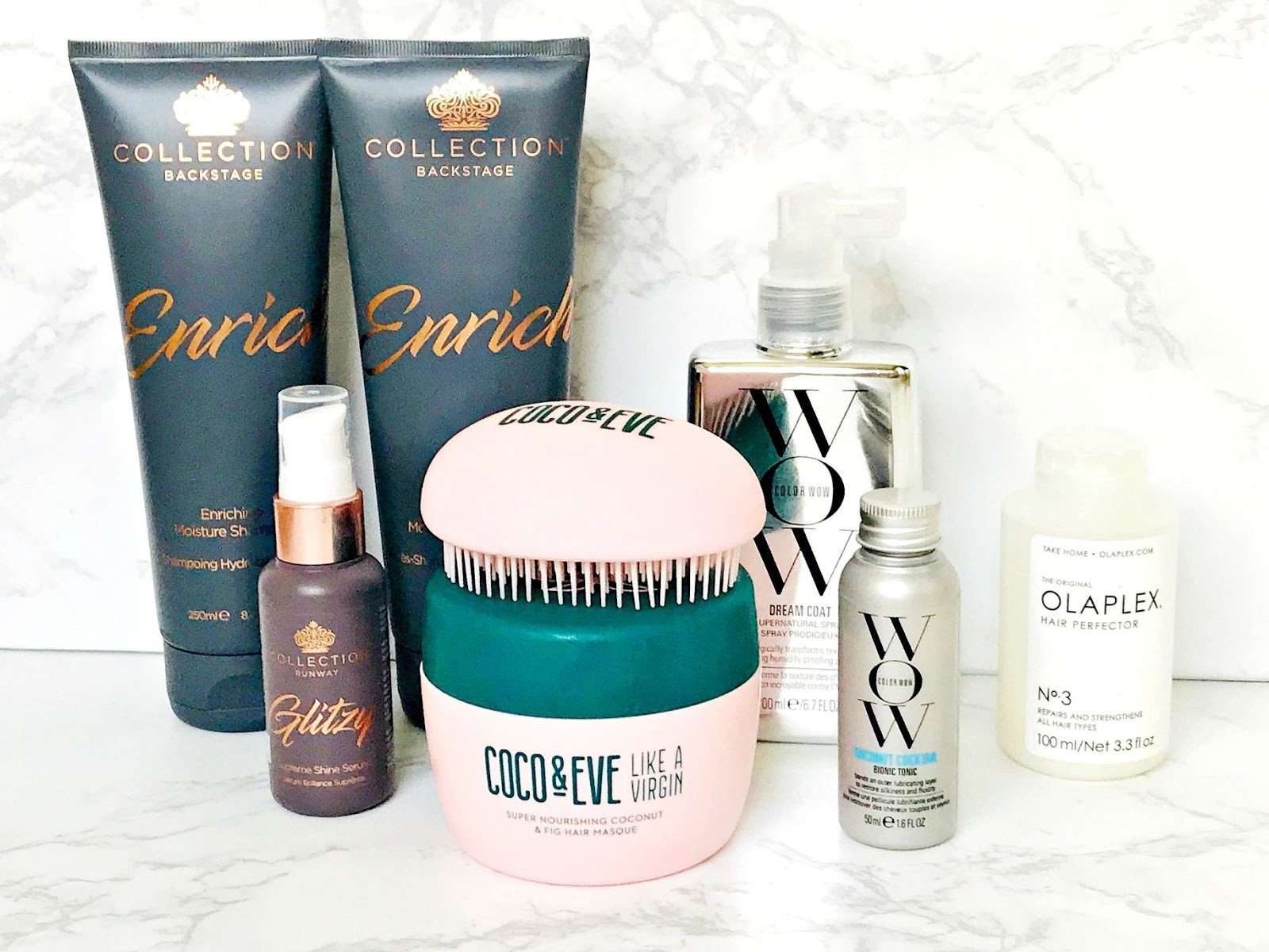 Collection Enrich Moisturise Shampoo, Collection Enrich Conditioner, Collection Glitzy Serum, Haircare, Olaplex No 3 Hair Perfector, Coco & Eve Super Nourishing Coconut & Fig Hair Masque, Color WOW Dream Cocktail Coconut Infused, Color WOW Dream Coat Supernatural Spray