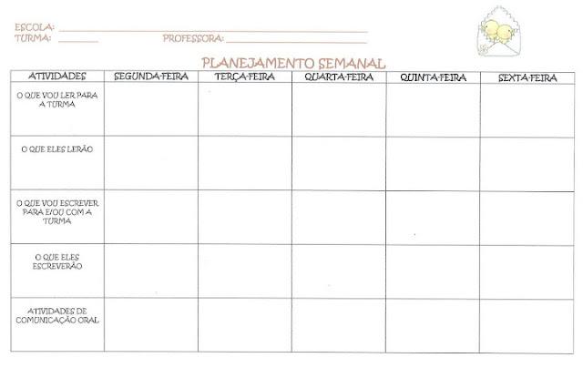 planejamento semanal modelo