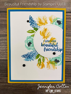 Friendship card with Stampin' Up!'s Beautiful Friendship retiring stamp set!  You can get this set through May 3, 2021 or while supplies last.  I also used the retiring/while supplies last Stitched Shapes Dies.  In the video on the blog I make this card.   Measurements are on the blog.  #StampinUp #StampTherapist #BeautifulFriendship