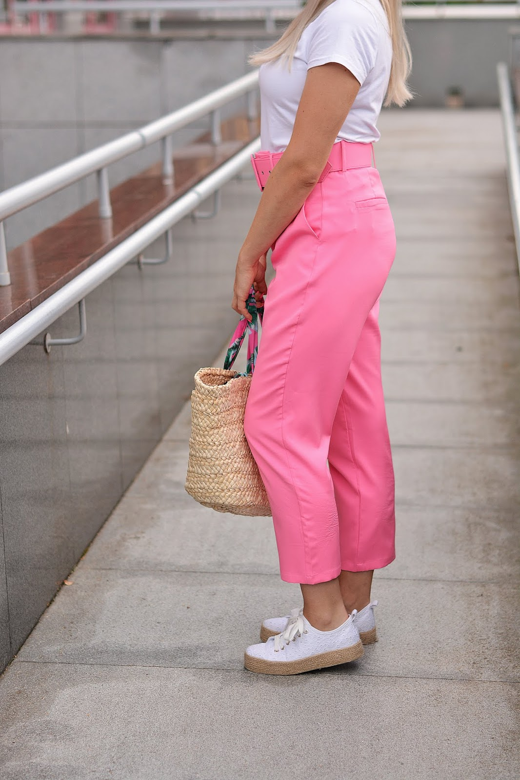 Hot Pink Belted Tapered Trousers