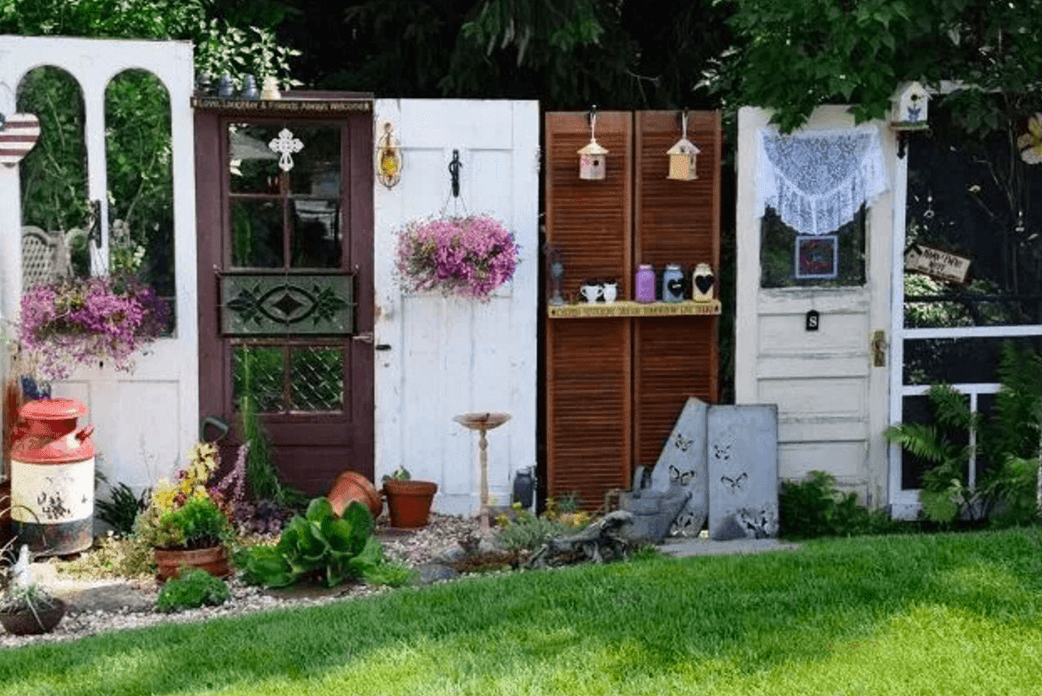 15 Brilliant DIY Ways To Upcycle Your Door - Garden Fence