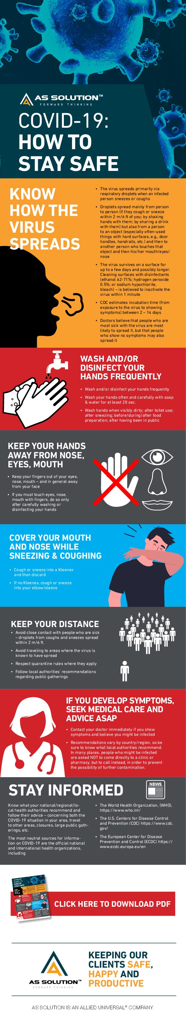 Staying safe in the COVID-19 outbreak #infographic