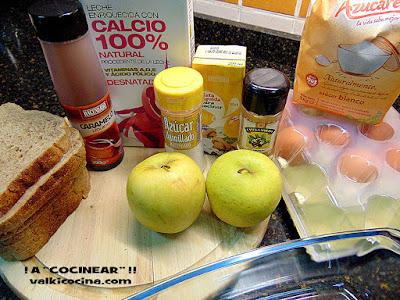 Pudin de pan de molde integral con manzana y canela