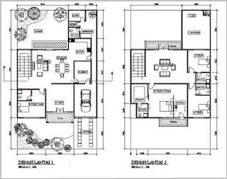 Kumpulan Denah Rumah Minimalis 2 Lantai Modern Terbaru
