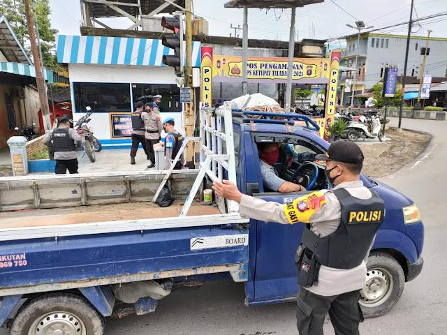 Pos Pam Ops Ketupat Telabang 2021 Batu Batanggui Ajak Pengguna Jalan Patuhi Prokes