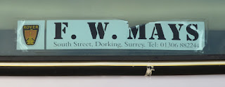 F W Mays - Dorking rear window sticker