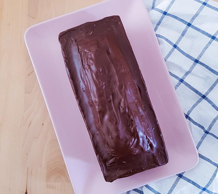 Cake marbré enrobé de chocolat