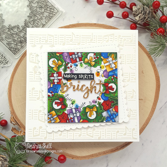Square Christmas Card by Andrea Shell | Holiday Fringe Stamp Set by Newton's Nook Designs
