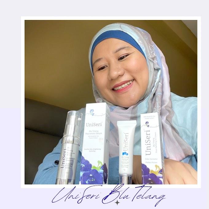 UniSeri Blu Telang Serum Dan CC Cream Terbaik Dari Bunga Telang Untuk Merawat Masalah Penuaan, Jerawat dan Liang Pori Terbuka