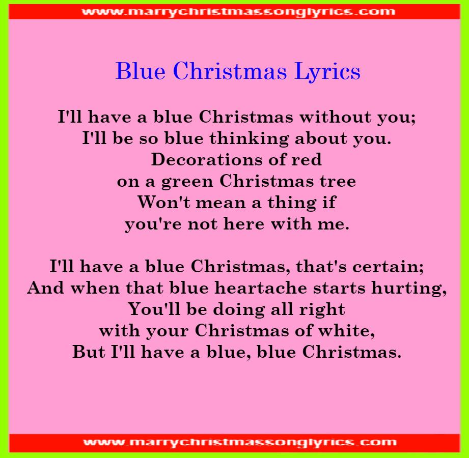 Blue Christmas Lyrics Image
