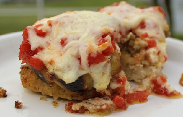 this is eggplant stacked on top of chicken breast
