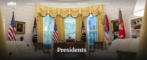 Snapshot from whitehouse.gov web site, image of oval office.