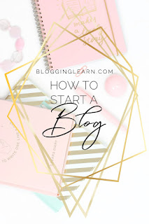 Pink white and gold notebooks and office supplies on a white background with diamond or jewel like shapes in gold foil framing the words How to Start a Blog