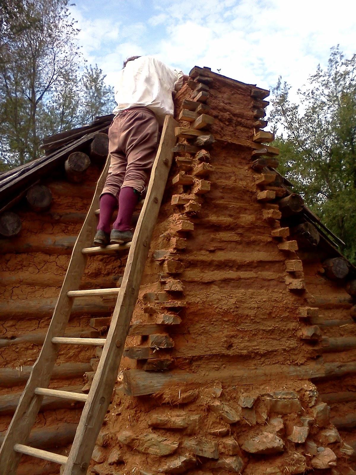 Frontier Culture Museum of Virginia: Daubing the Chimney
