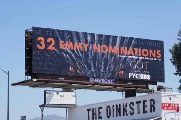 Game of Thrones 32 Emmy nominations billboard