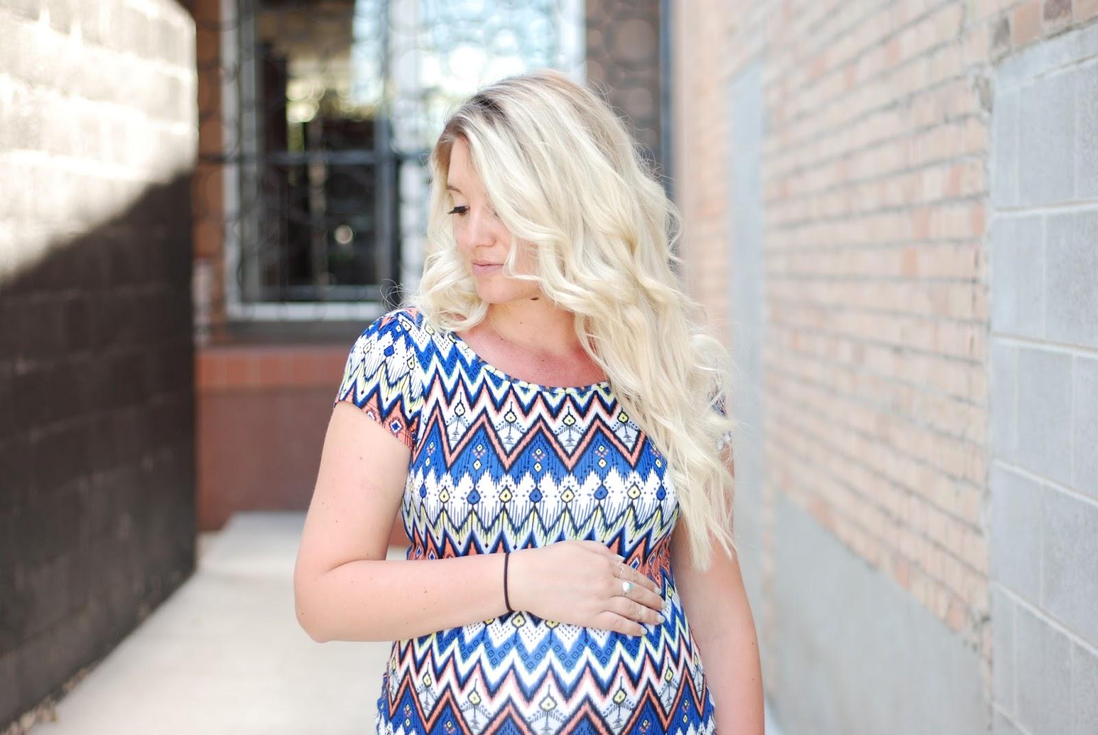 Long Blonde Hair, Printed Dress