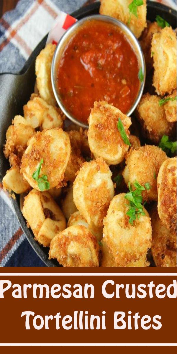 Parmesan Crusted Tortellini Bites #Parmesan #Crusted #Tortellini #Bites #ParmesanCrustedTortelliniBites