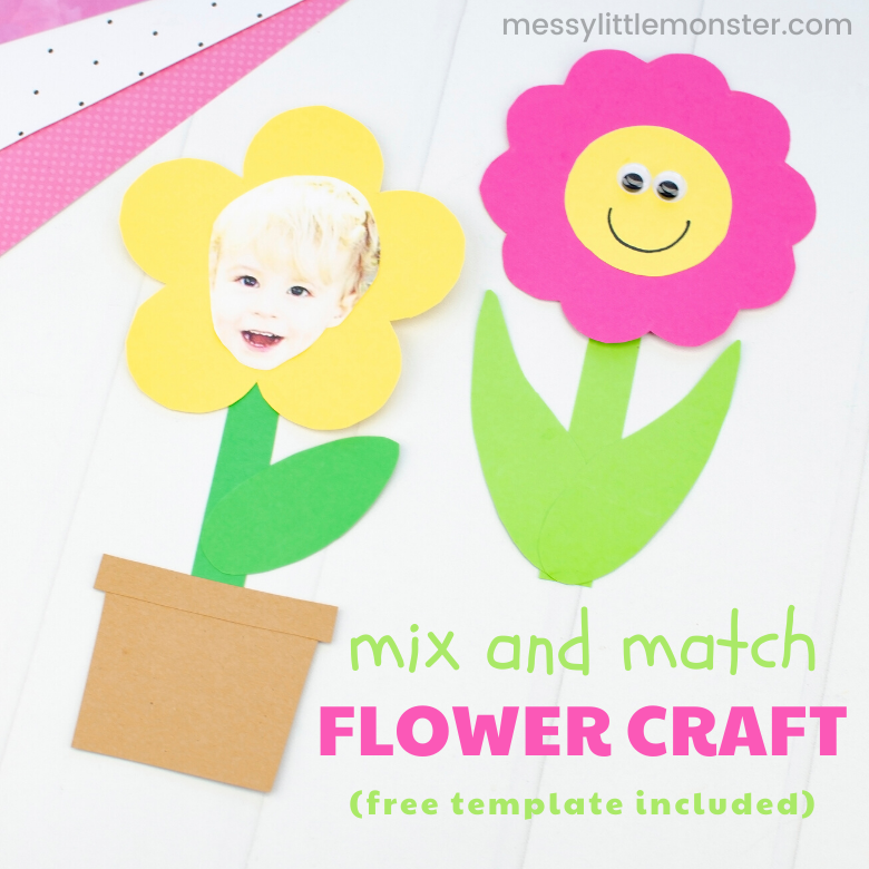 Mix and match flower craft with flower template