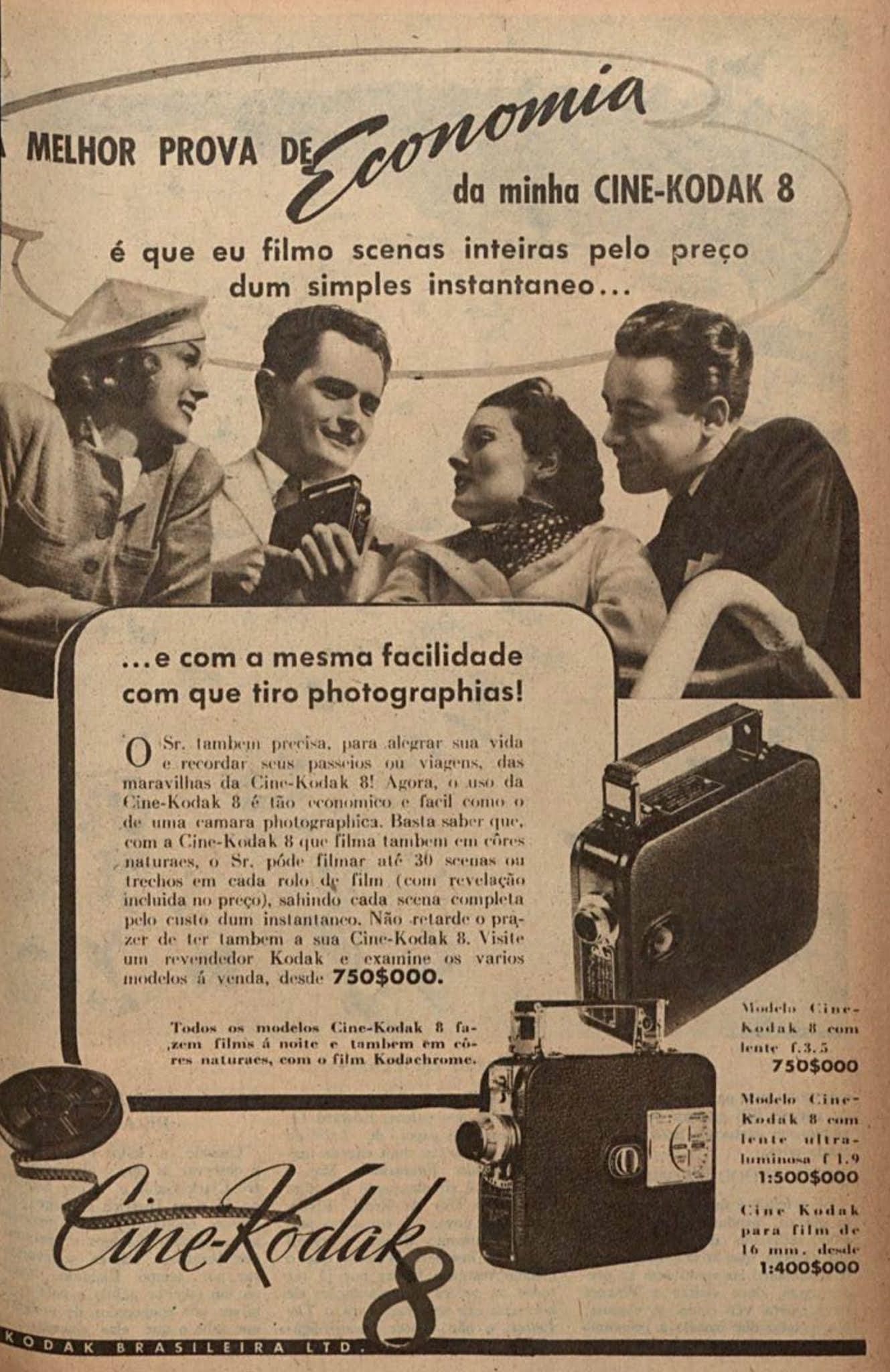Anúncio antigo da Kodak promovendo sua filmadora portátil em 1941