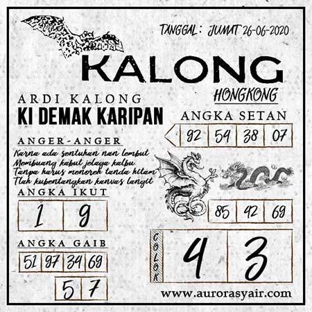 Syair HK Kalong Jumat 26 Juni 2020