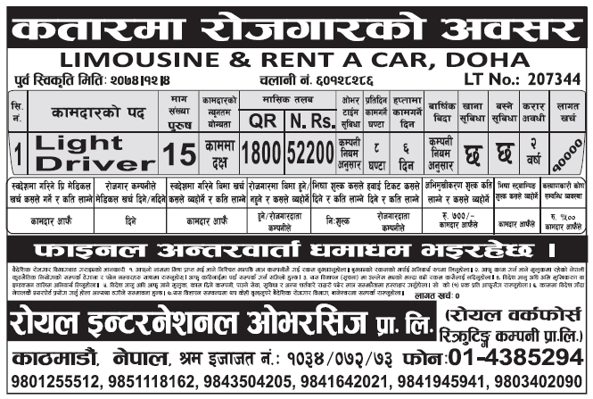 Jobs in Qatar for Nepali, Salary Rs 52,200