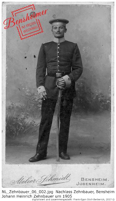 Johann Heinrich Zehnbauer um 1905 als Soldat des  Großherzoglich Hessischen Train-Bataillons 18.