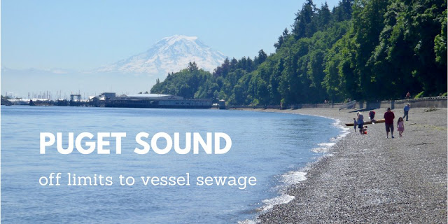 view of puget sound with text Puget Sound off limits to vessel sewage