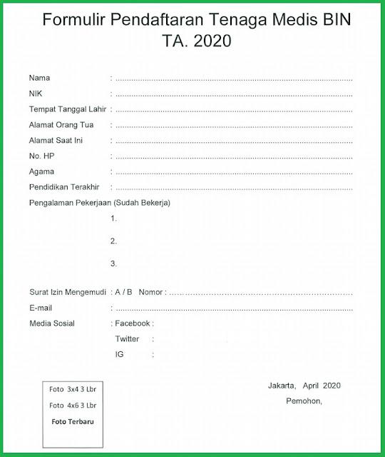Formulir Pendaftaran Tenaga Medis BIN Tahun 2020