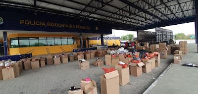 PRF apreende mais de 3 mil pares de calçados falsificados no Sertão de Alagoas