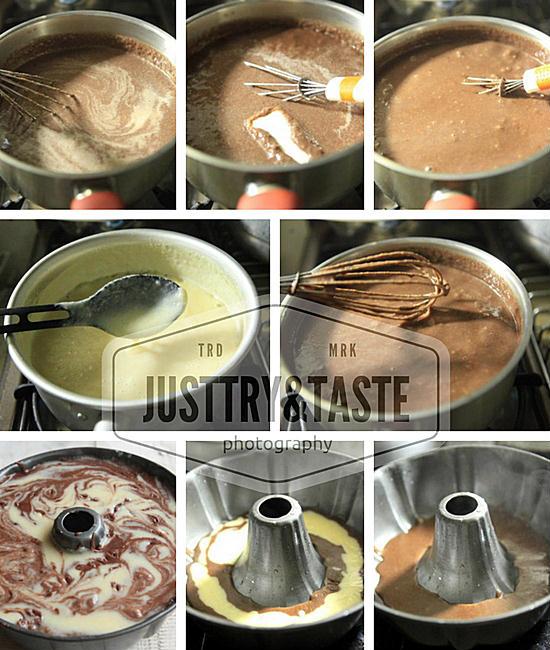 Resep Puding Roti Tawar Marmer dengan Vla Vanila
