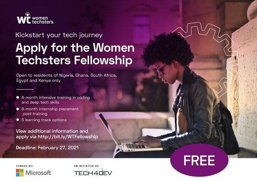 Women Techsters Fellowship Program 2021 for African Women
