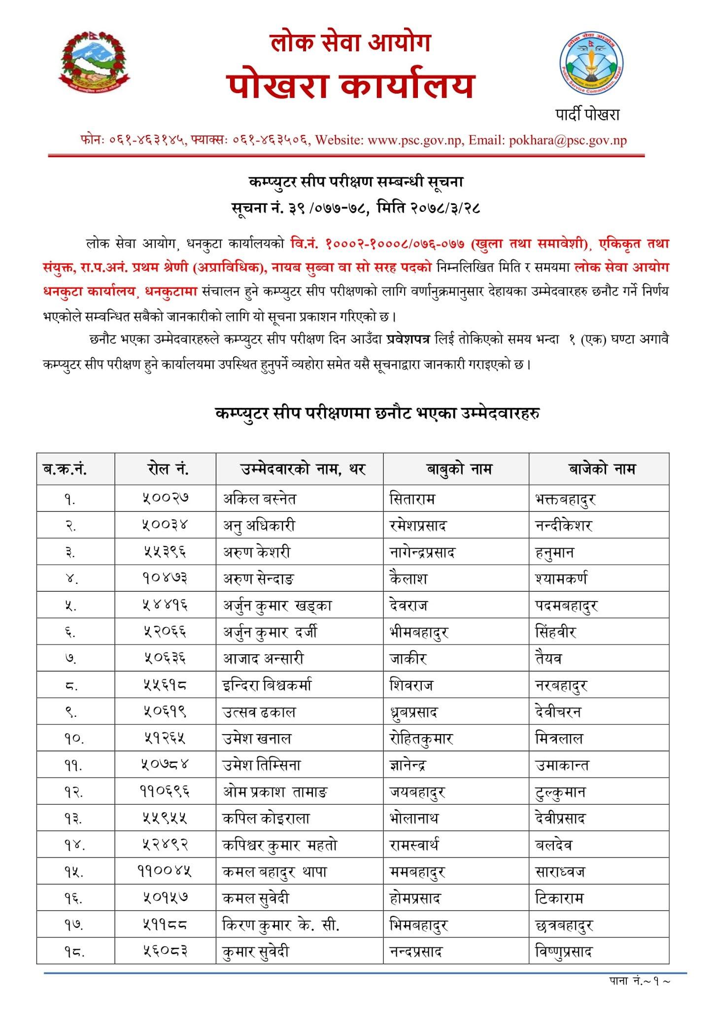 NASU - Dhankuta Lok Sewa Aayog Written Exam Result & Exam Schedule