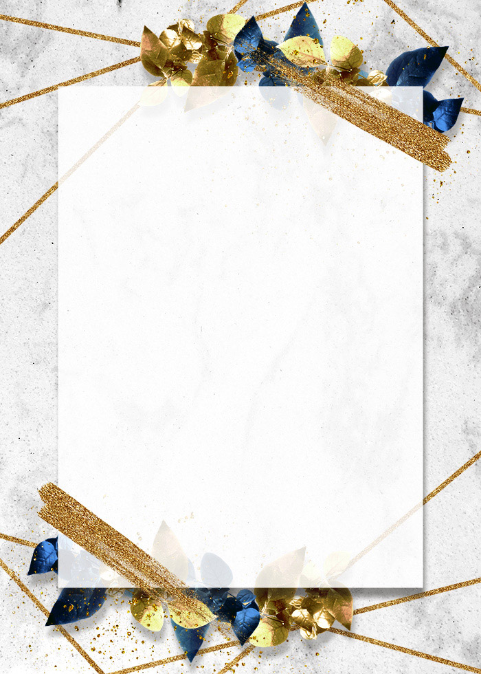 Abstract Flowers Gold Foil Brush Editable PSD