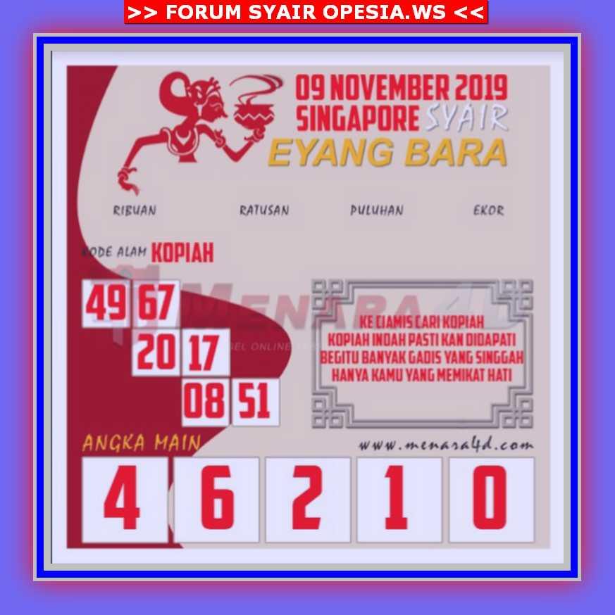 Kode syair Singapore Sabtu 9 November 2019 87
