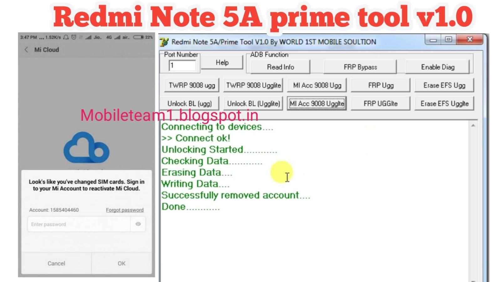 Mobileteam1: Redmi Note 5A prime tool v1 0 mi account remove 1000%