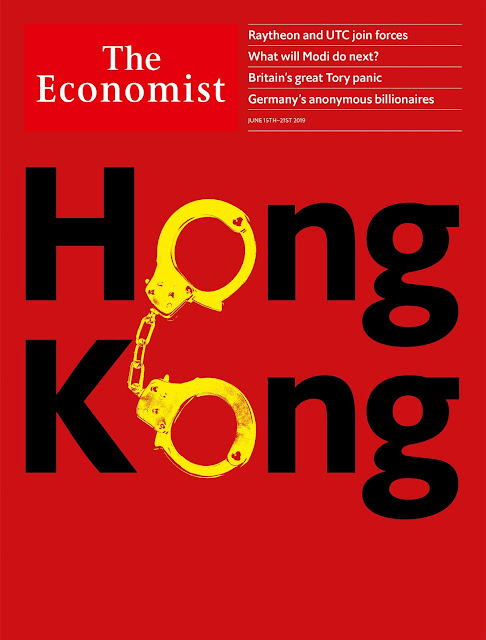 "Cover of The Economist depicting the word ""Hong Kong"" using handcuffs"