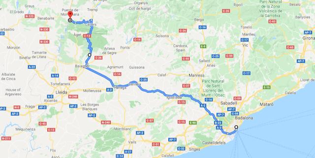 ruta en coche congost de montrebei