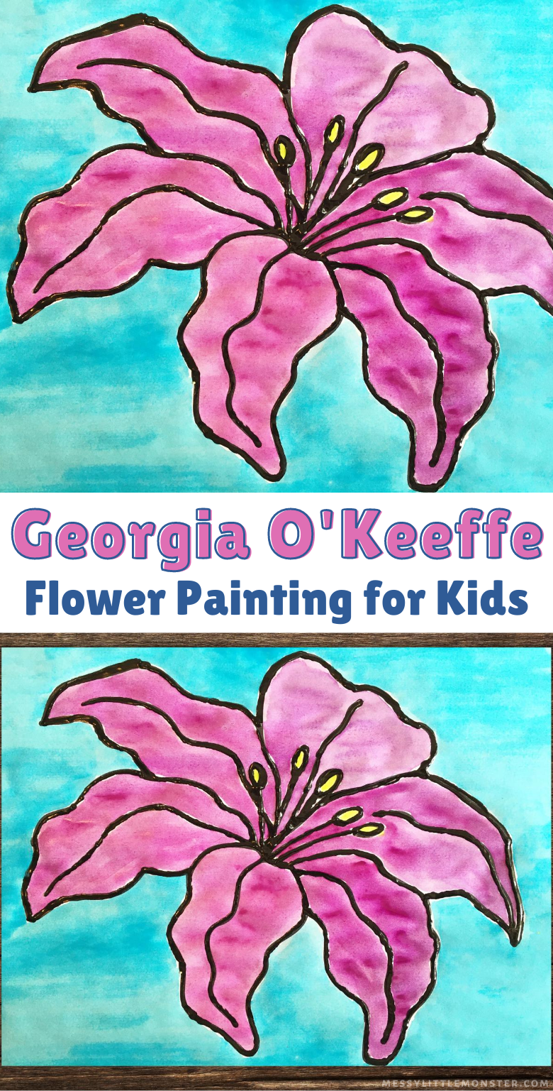 Georgia O'Keeffe flower painting art project for kids