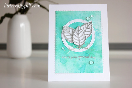 Birthday Greetings stamp set and Layered Leaves and Stitched Circle Scallop Frames Die-namics - Amanda Korotkova #mftstamps