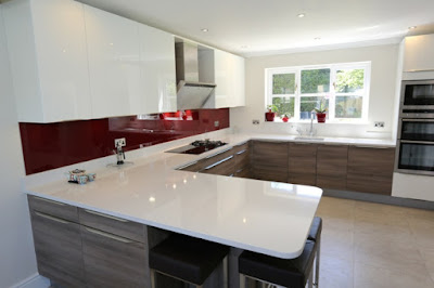 white u kitchen cabinets with little red accent